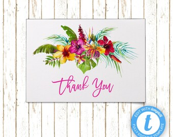 Aloha Hawaiian Bridal Shower Thank You Cards | Editable Printable PDF or JPEG | Instant Download | Templett | ABI112TY