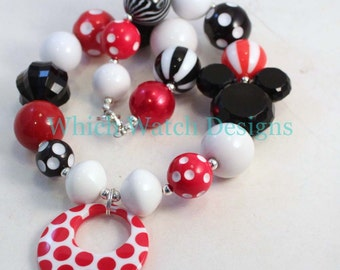 Miss Mouse.. Chunky Red and White Polka-Dot, Black Mouse Toddler Bubblegum Necklace