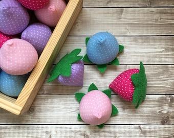 play food berries, sugar berries, felt strawberry, play food fruit, pretend berries, felt food strawberry, unicorn fruit toy