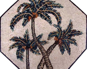 Octagonal Palm Trees Marble Mosaic