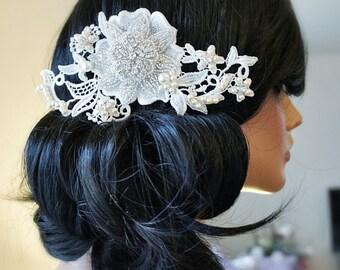 Bridal Ivory Lace & Rhinestone Head Comb