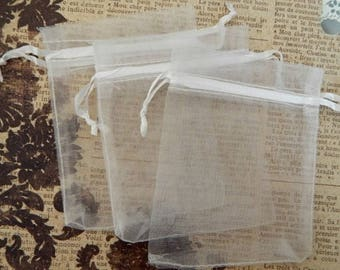 10 white ORGANZA sleeves 9 x 7 cm for Christmas gifts