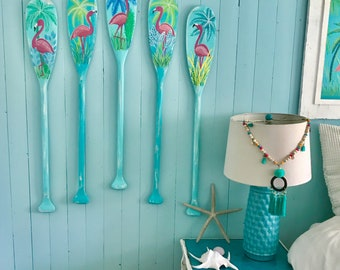Flamingo Paddle Oar Art Sign ONE Hand Painted Coastal Tropical Beach House Lake Cottage Decor By CastawaysHall