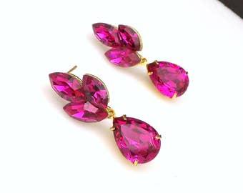 Gold plated post earrings hot pink fuchsia marquise swarovski crystals fancy rhinestone marquise teardrop prom bridesmaid bridal earrings