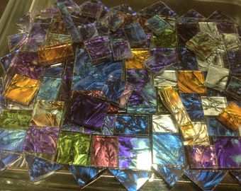 100 Van Gogh Tiles or Borders Art Glass Mosaic Mix Color Sampler B14