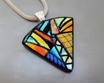 Dichroic Zentangle Fan Shaped Pendant, Dichroic Glass Necklace, Fused Glass Pendant, Zentangle Style Glass Pendant, Picasso