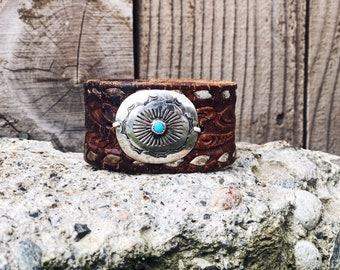 Cowgirl Cuff - Turquoise Leather Cuff - Native American Cuff - Navajo Hand Stamped -Leather Bracelet - Concho Cuff - Redeemed Cowgirl