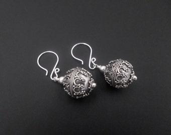 Sterling Silver Earrings, Silver Bead Earrings, Ball Dangle Drop Earrings, Sterling Silver Jewelry, Pattern Earrings, Bali Oxidized Earrings