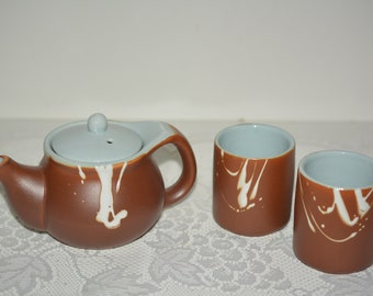 Small Brown Blue Ceramic Teapot with 2 Matching Cups and Swirl Designs