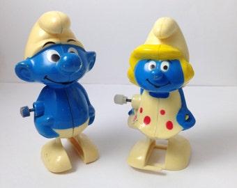Vintage smurf wind up toys