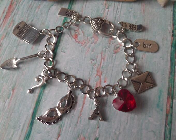 PRETTY LITTLE LIARS  inspired silver tone A ? charm bracelet fan gift Jewellery got a secret? Uk