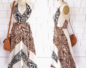 Beautiful vintage 1970's cotton block print halter neck chevron wrap dress