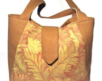 Designer handbags, Vegan bag, Brown handbag, Tote bag, Large tote, Large handbag, Large Purse, Fabric handbag, Gift for her, Vegan, Tote