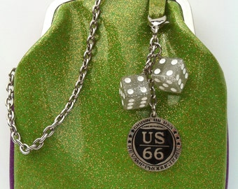 Couture Vintage Car inspired Handbag. Handmade in the USA- Route 66 Sparkle Green