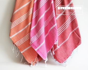 SALE 50 OFF / SET 3 / Turkish Beach Bath Towel / Classic Peshtemal / Orange - Pink - Pomegranate Flower Color
