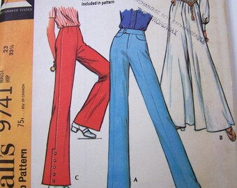 Bell Bottoms Vintage 60s McCall's 9741 Misses' Bell Bottoms Wide Legs Pants Waist 23 Hip 33 Uncut Complete FF