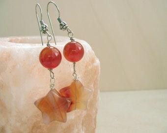 Carnelian earrings, Stars earrings, Carnelian jewelry, Dangle earrings, Stars jewelry, Pendant earrings, Elegant earrings, Star earrings