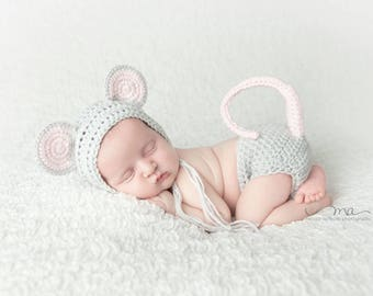 Crochet Mouse Costume - baby Hat - Mouse Hat - Baby animal hat - newborn photo prop - Animal Bonnet crochet baby outfit - Halloween Costume
