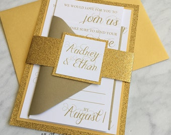 Glitter wedding invitation suite,  gold Wedding Invitations, gold Wedding Invitations with Glitter, Audrey