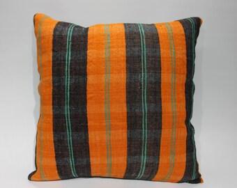 Decorative Pillow 20x20 Handwoven Kilim Pillow 20x20 Orange Black Striped Kilim Pillow Throw Pillow Bed Pillow   1663