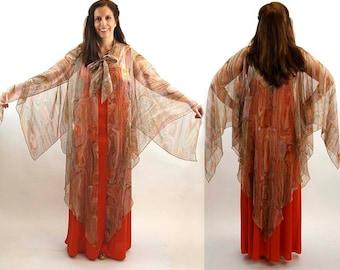 1960s maxi dress with sheer jacket snakeskin pattern orange brown green Size M