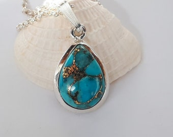 Copper turquoise  pendant, teardrop shape, set in 92.5 sterling silver,free shipping