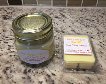 Birthday Cake Scented Soy Candle and Wax Melt