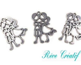 Pendants lover charms dance, 31mm x 24mm, hole 31x24mm CA. 2mm, silver, 10 pieces