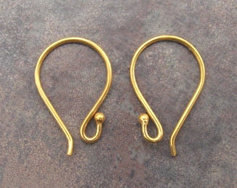 2 Bali Vermeil Earwires With Ball - 17mm x 11mm - Low Shipping