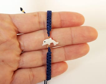 Dolphin charm bracelet Kids bracelet Animal friendship bracelet Ocean bracelet Mother daughter jewelry Best friend gift Wish bracelet