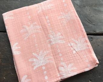 "Hand Block Printed Capri Baby Swaddle Blanket 48"" x 48"""