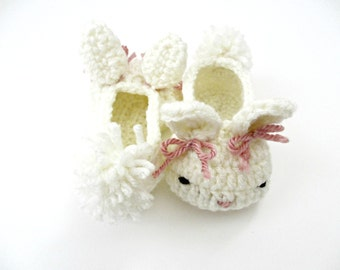 Bunny Hop Baby Slippers - Baby Bunny Shoes - Bunny Bows - White Cottontail - Custom Sizes - Newborn 3 6 9 12 month