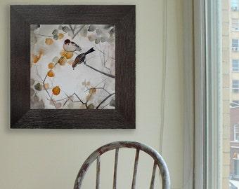 Wall Decor - Asian Inspired Art - Fall Leaves Decor - Living Room Home Decor - Bird Art - Fall - Large 24x24 Print - Poster