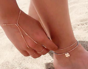 Gold Plain Three Rounds Together Slave Bracelet Hand Chain Over 925 Sterling Silver