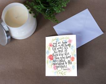 Romans 8:28 Floral Card