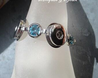 BRACELET ZIRCONS BLEUS 16.5 cm 3 supports argentés avec zircons ronds bleus pour  boutons a pressions 1.8 cm