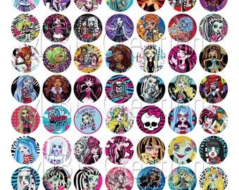 """Monster High 1"""" Bottle Cap Images - 8.5 x 11 Digital Collage Sheet - Instant Download"""