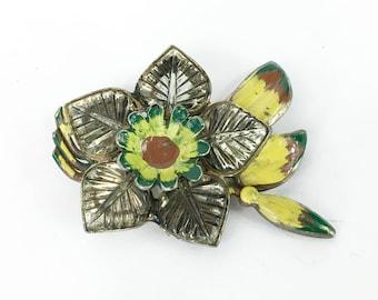 30s Enamel Brass Flower Brooch | Molded Glass Floral Pin