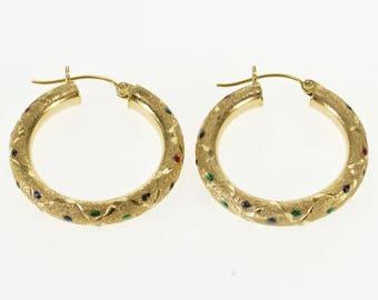 14k Pitted Textured Green Red Blue Enamel Hoop Earrings Gold