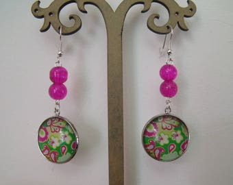 SALE earrings fuchsia cabochon 20mm floral glass beads
