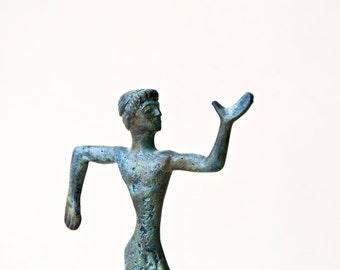 Metal Art Sculpture, Runner Bronze Figurine, Greek Athlete Runner Statue, Ancient Greece Olympic Games, Museum Quality Art, Greek Sculpture