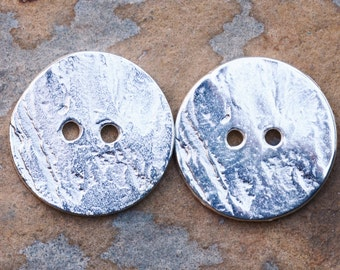 2 Greek Casting Large 20mm Silver Cornflake Button Beads