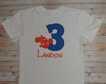 Infant Baby Toddler Boys Custom Nemo Birthday Number Applique Shirt 12 month 2T 3T 4T 5T