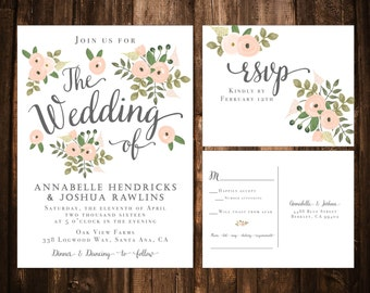 Blush Floral Wedding Invitations; Printable OR set of 25
