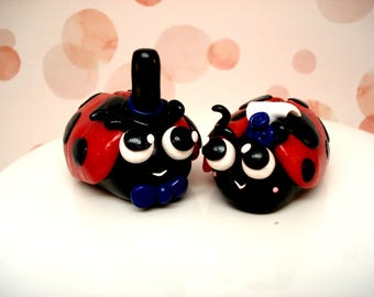 Cute Wedding Cake Topper Ladybug Bride and Groom Wedding Decor Magical Wedding Ideas