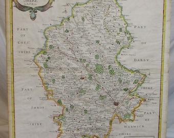 Antique map of Staffordshire England Robert Morden Sutton Nicholls framed c1730  framed  Worldwide freight art gift