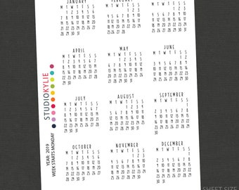2019 Calendar Stickers - Sheet of 12 individual months -  Week Starts Monday -  for Dot Journals and Traveler's Notebooks