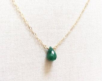 Genuine Emerald Necklace, Emerald Necklace, May Birthstone, 14k Emerald Necklace, Emerald Jewelry, Emerald Necklace Gold, Emerald, BN5