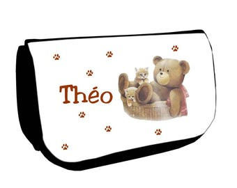 Clutch black makeup /crayons Teddy bear and cat personalized with name
