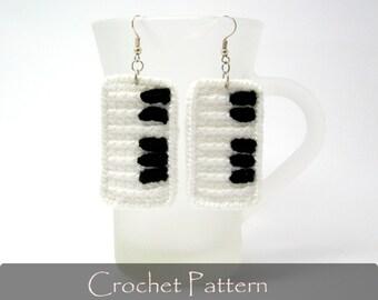 CROCHET PATTERN - Piano Crochet Pattern Piano Keys Crochet Earrings Tutorial Piano Jewelry Crochet Pattern PDF - P0021